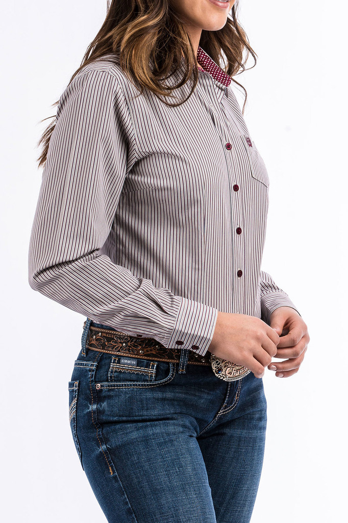 Women's Cinch L/S, Red, White and Blue Pinstripe