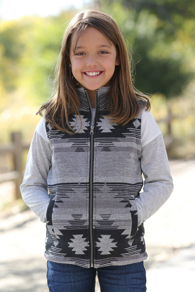 Girls Cruel Girl Vest, Tweed Gray with Aztec Front