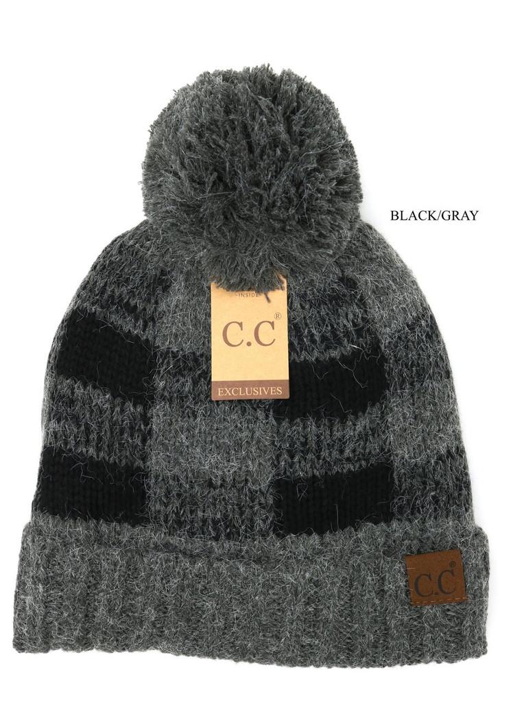 C.C. Beanie, Fuzzy Lined, Buffalo Check Print