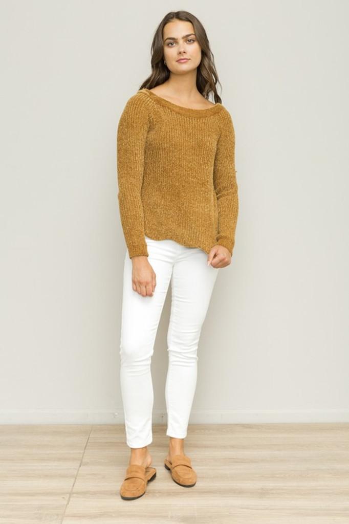 Women's Hem and Thread L/S, Scalloped Hem Sweater, Mustard