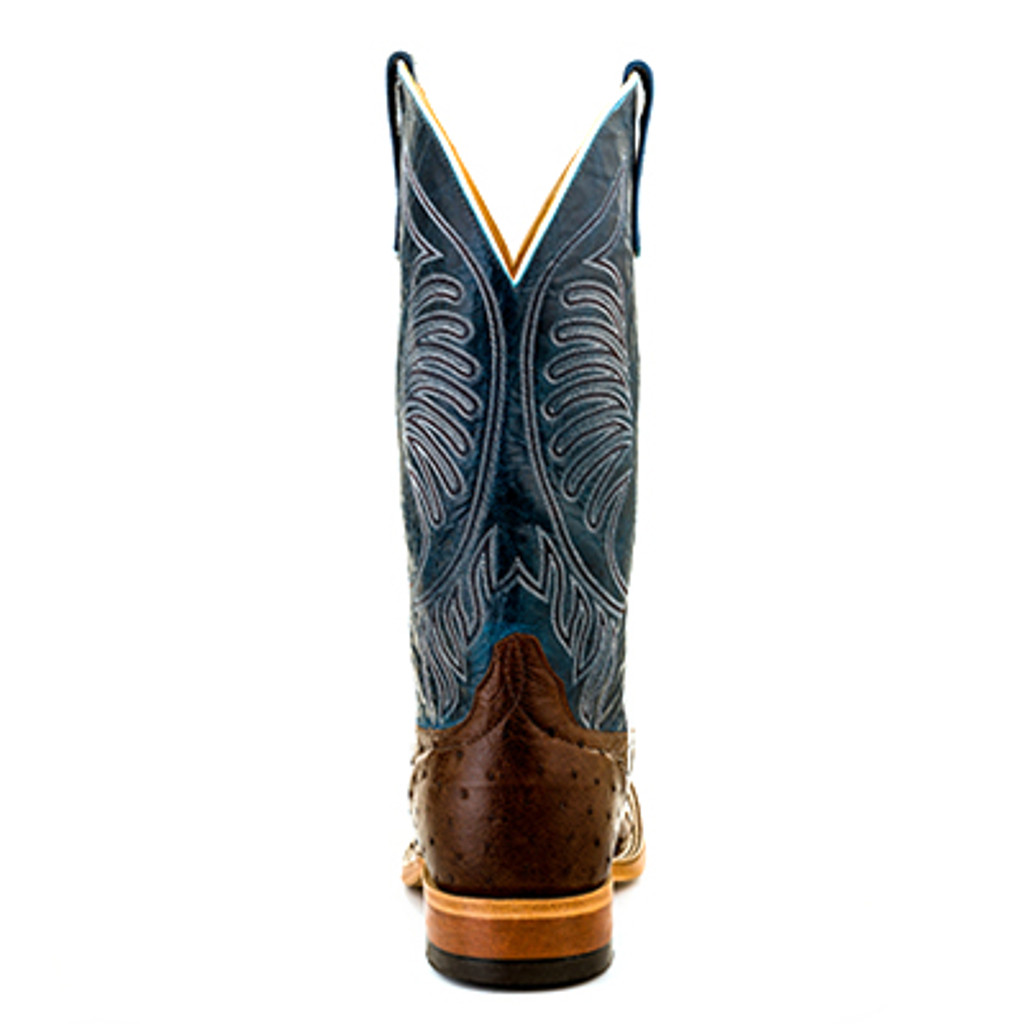 Men's Anderson Bean, Chocolate Full Quill Ostrich, Blue Top