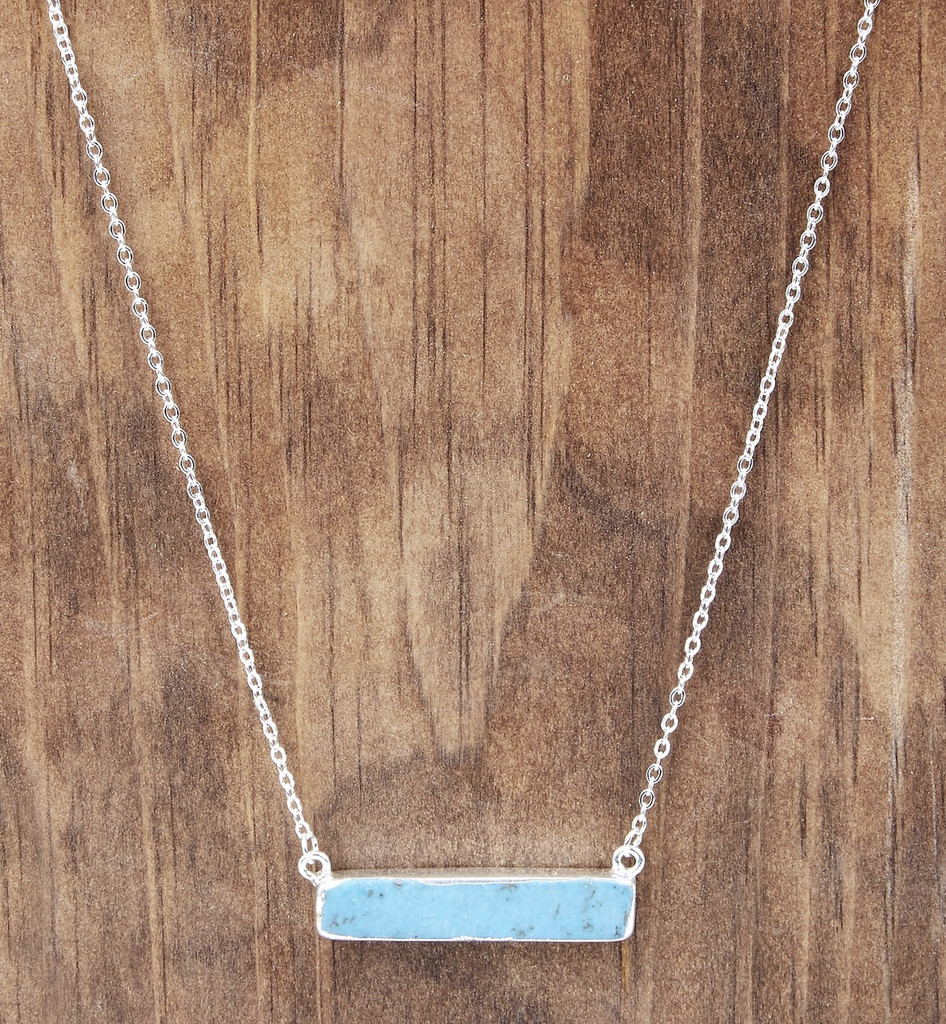 West & Co Necklace, Dainty Silver with Turquoise bar