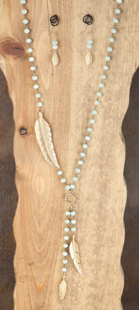 West & Co. Necklace & Earrings, Mint Beads with Gold Feathers