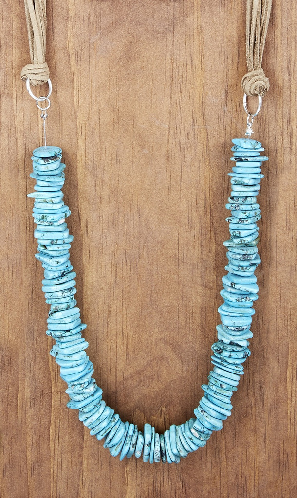 West & Co Necklace, 8 Strand Tan Leather, Turquoise Bead
