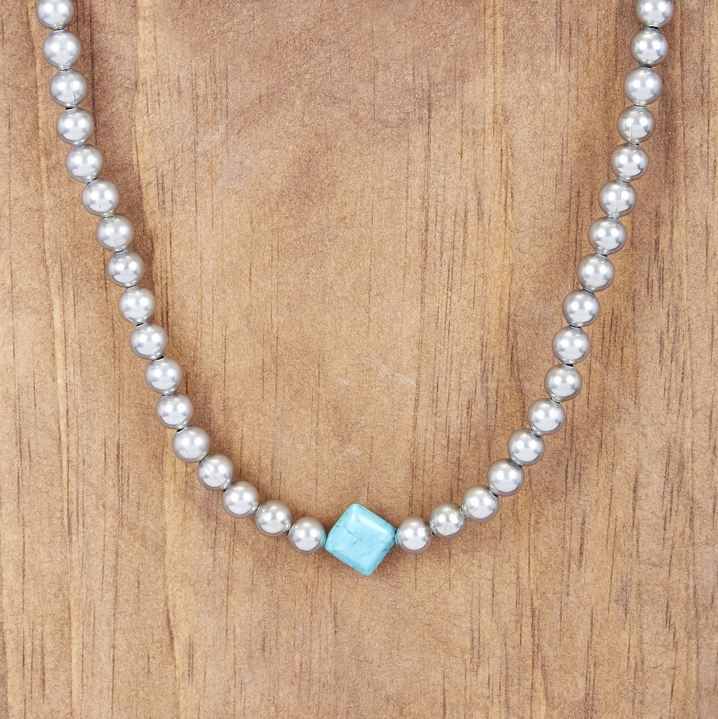 West & Co Necklace, Burnished Silver, Diamond Turquoise Stone