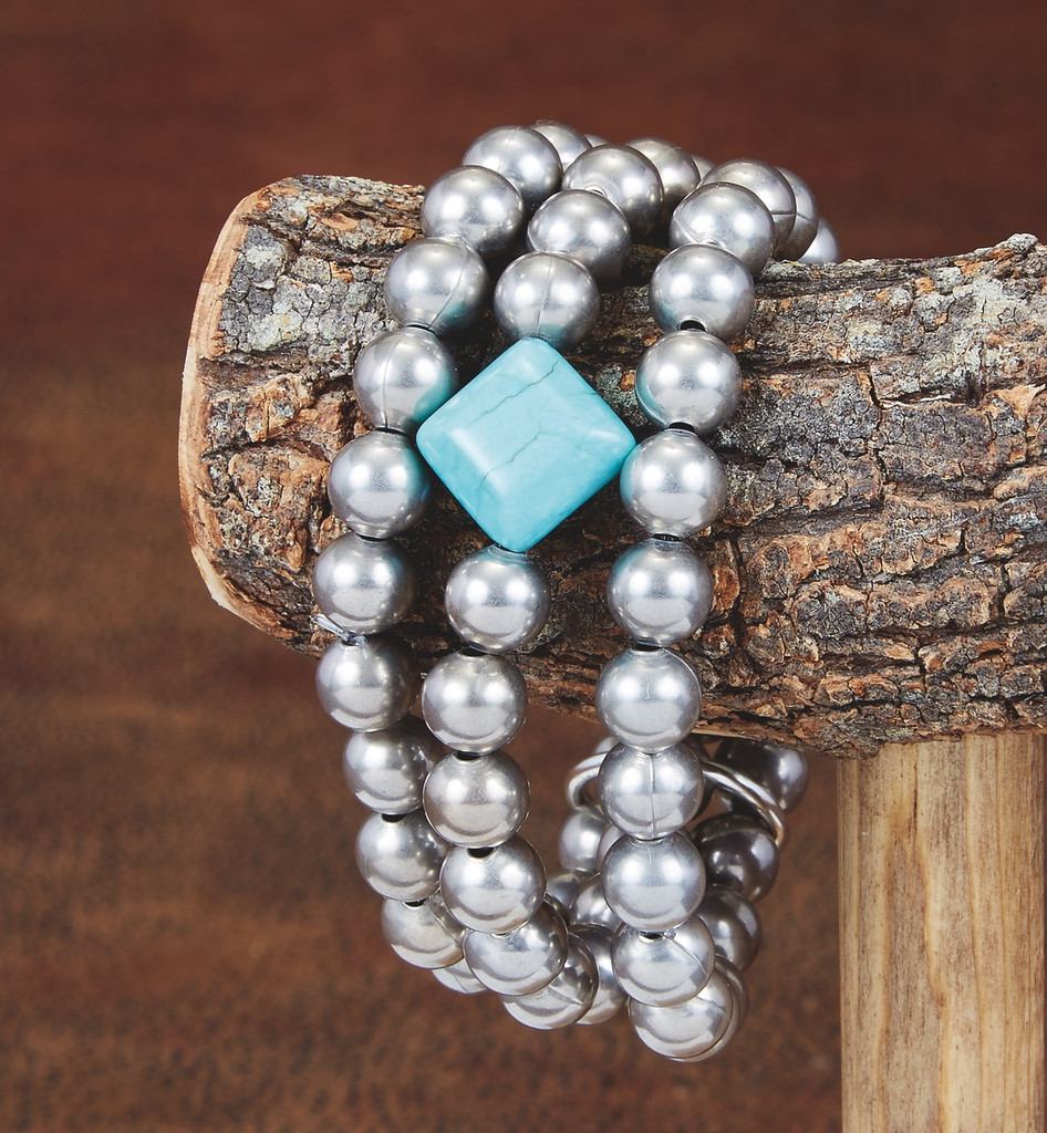 West & Co Bracelet, 3 Strand Silver Beads with One Turquoise Bead
