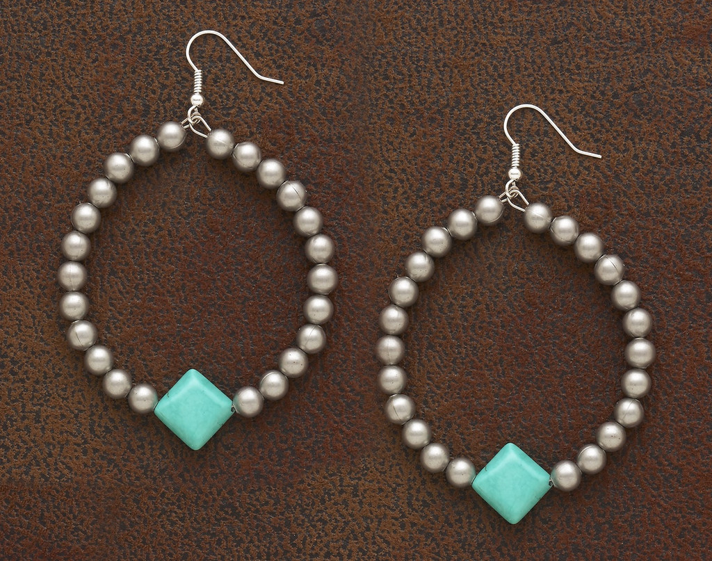 West & Co Earrings, Silver Hoop with Turquoise Diamond Bead