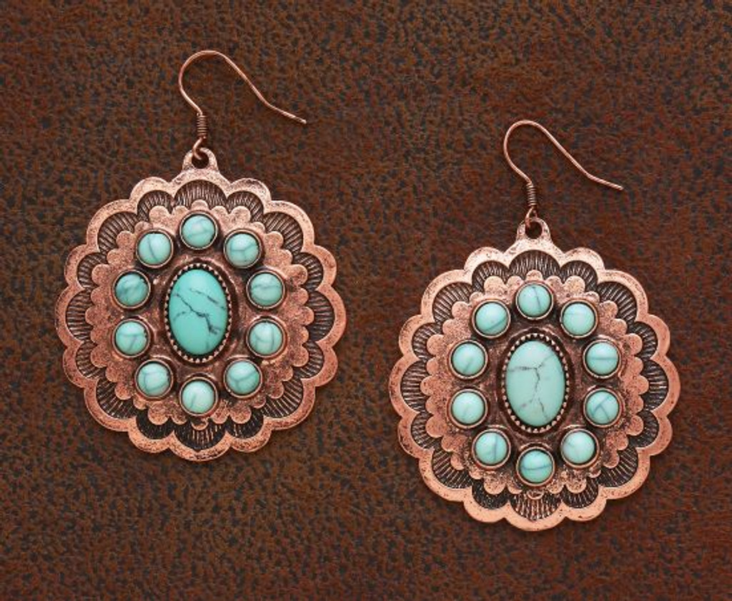 West & Co. Earrings, Burnished Copper, Large Concho with Multiple Turquoise Stone Inlay