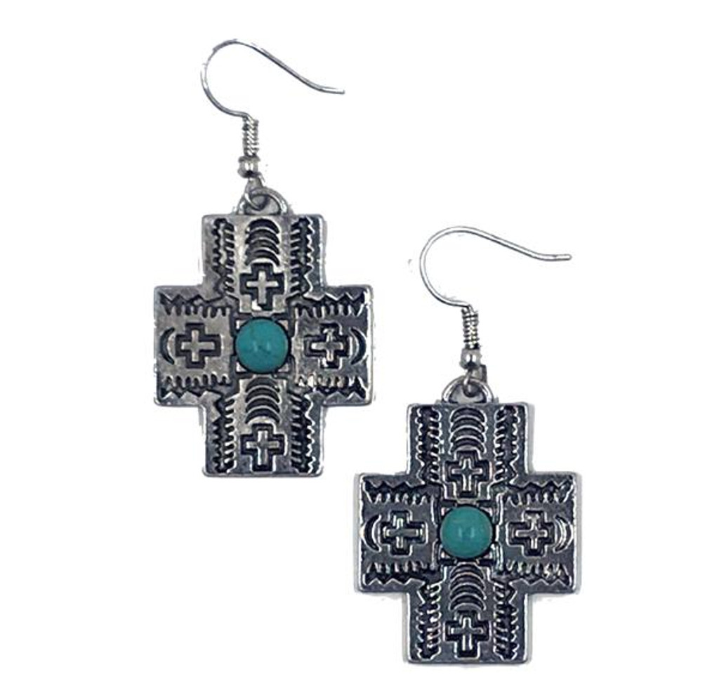 West & Co. Earrings, Burnished Silver Aztec Cross with Turquoise Accents