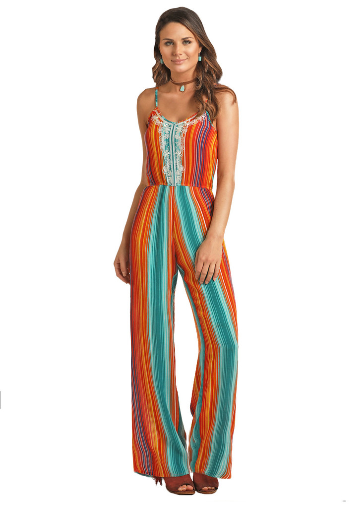 Women's Rock & Roll Jumpsuit, Serape, Lace Embroidery