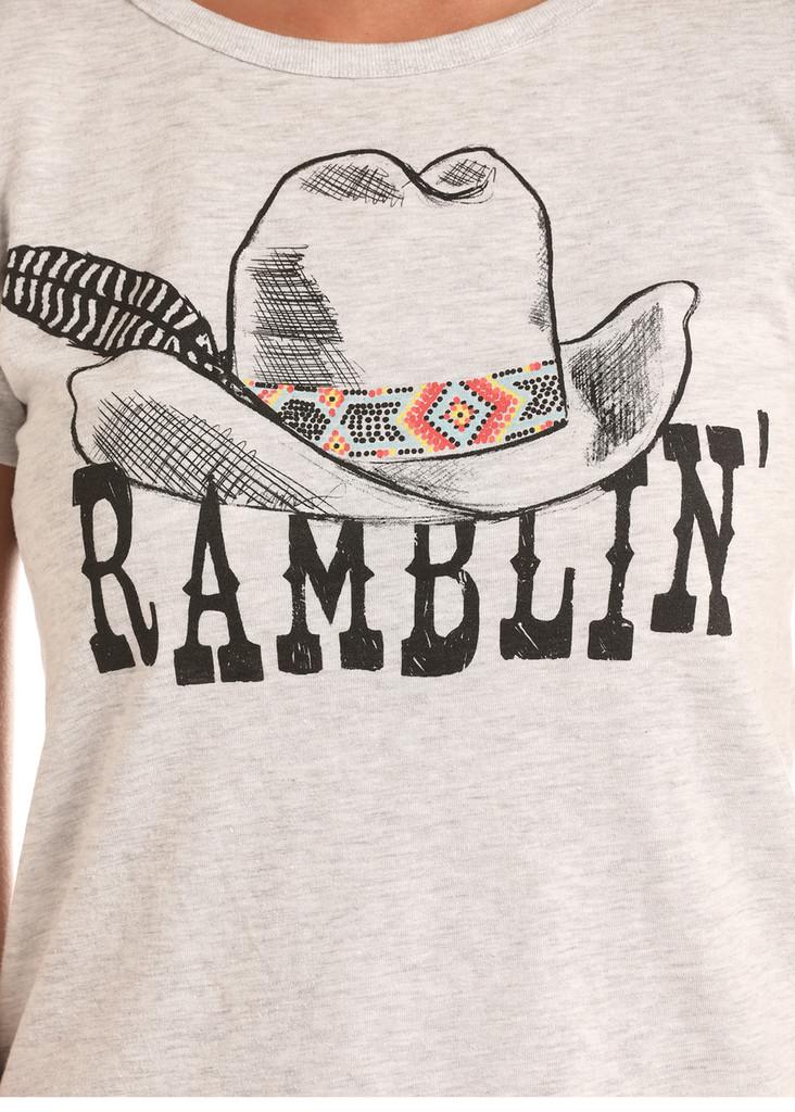 Women's Rock & Roll Tee, Ramblin, Cream Scoop Neck