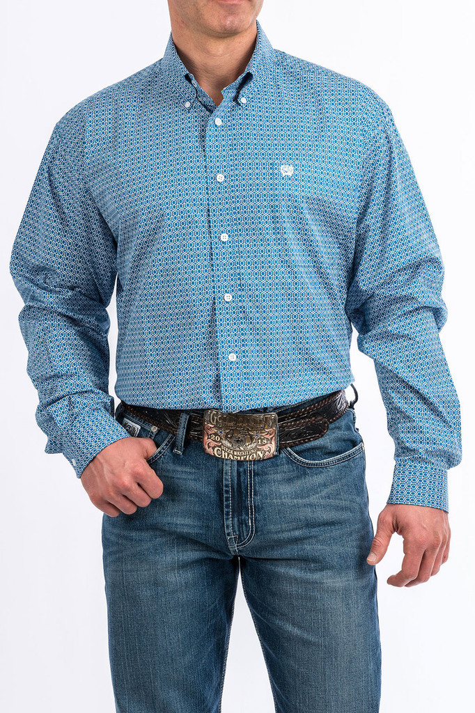 Men's Cinch L/S, Blue and White Honeycomb Print