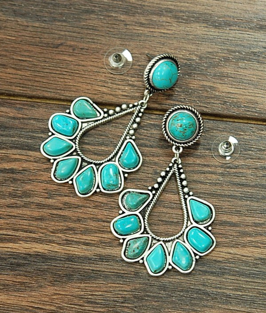 Isac Trading Earrings, Teardrop with Turquoise Stones
