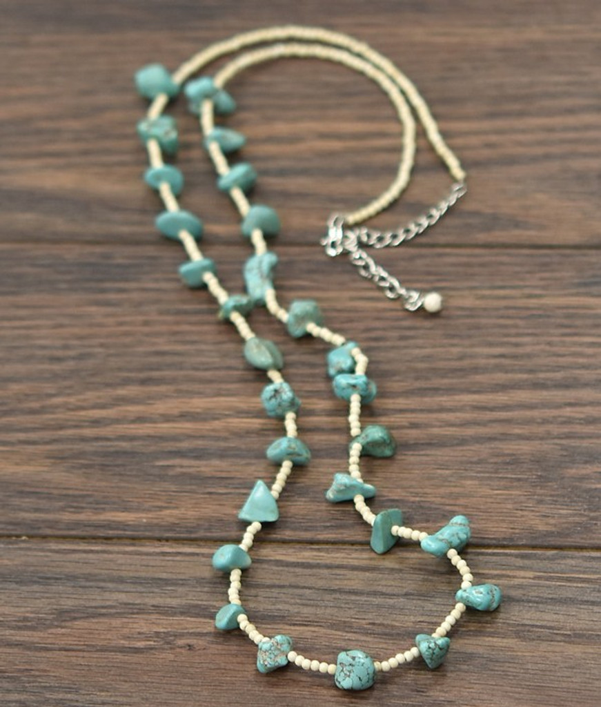 Isac Trading Necklace, Chunky Turquoise Stones with Cream Beads