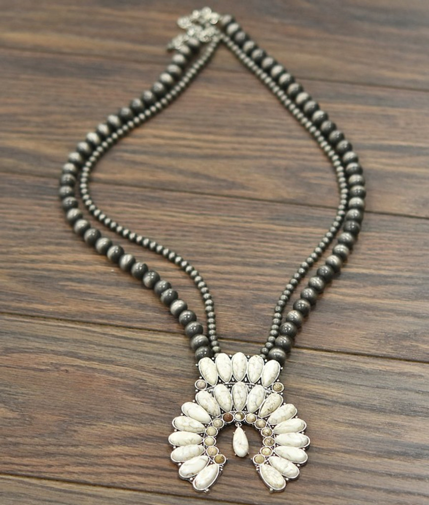 Isac Trading Necklace, White Turquoise Squash, Navajo Beads