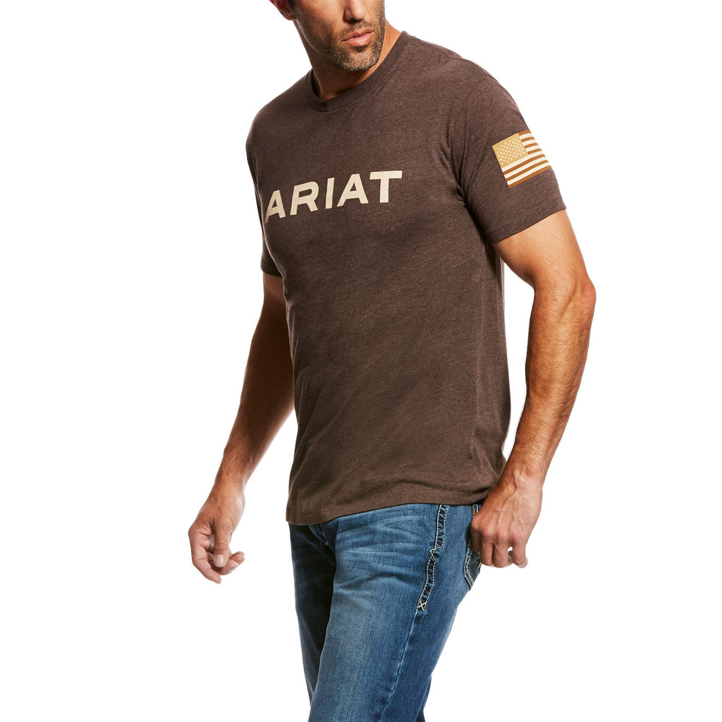 Men's Ariat Tee, Brown, Branded Patriot