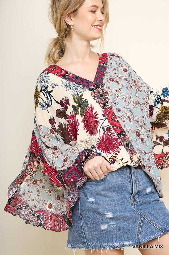 Women's Umgee Top, Mixed Floral Print, Ruffle Sleeves, Vanilla Mix
