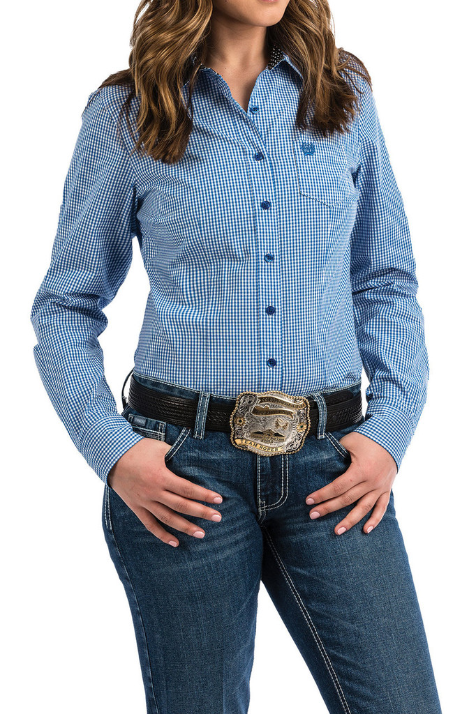 Women's Cinch L/S, Blue and White Plaid