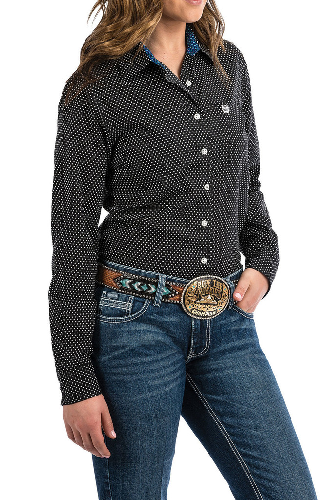 Women's Cinch L/S, Black and White Polka Dots