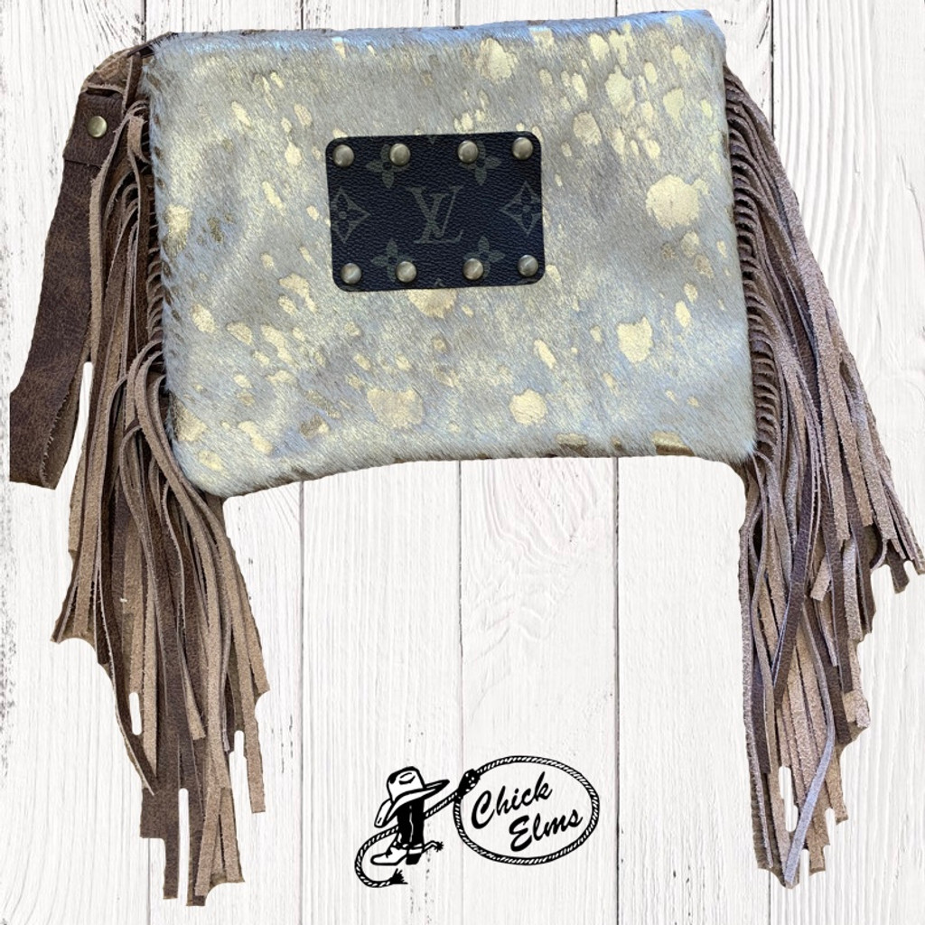 Keep it Gypsy Wristlet, Shiny Gold Axis Hair on Hide, Fringe