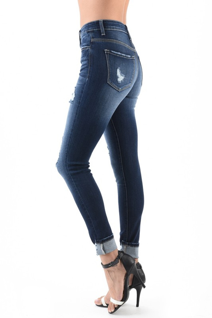 Women's KanCan Jeans, Leary Tess, Skinny Dark Wash, Distressed