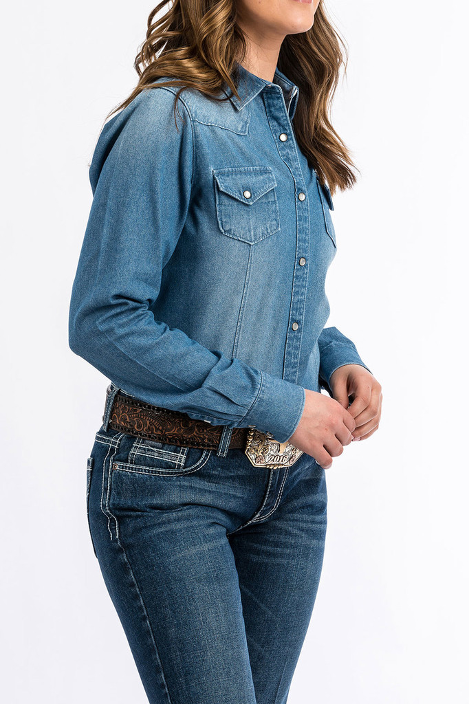 Women's Cinch L/S, Denim with Pearl Snap