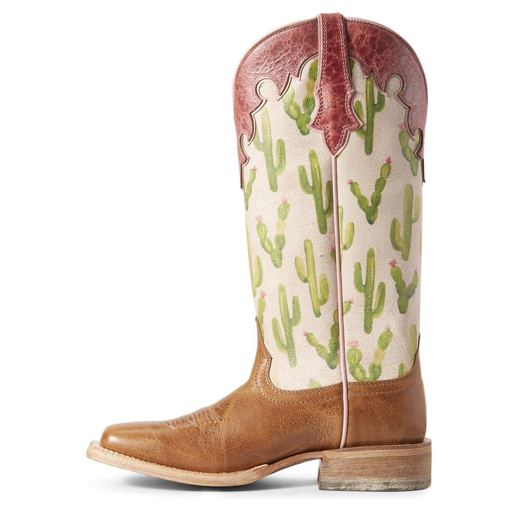 Women's Ariat Boot, Fonda, Tan Vamp with Cactus Print Shaft