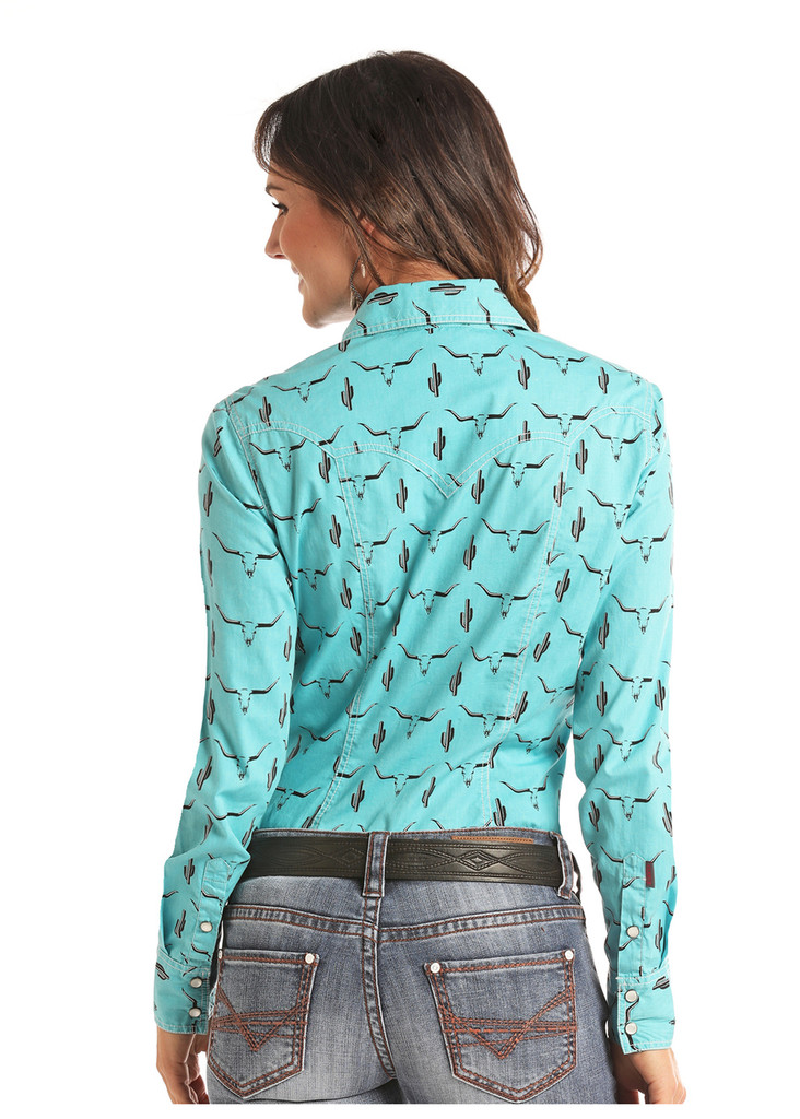 Women's Rock & Roll L/S, Turquoise with Skull and Cactus Print, Pearl Snap