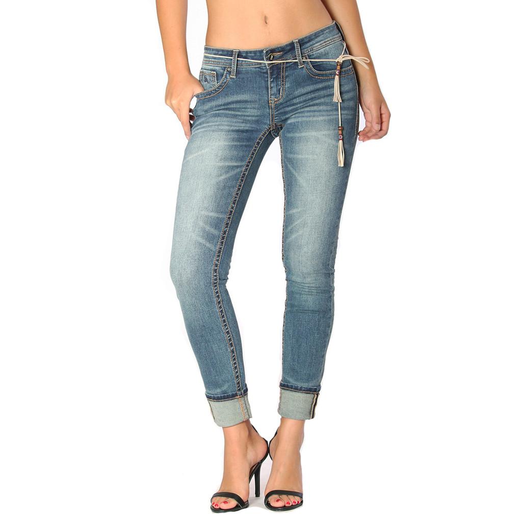 Women's Grace In LA Jeans, Skinny, Medium Wash, Cuffed Hem