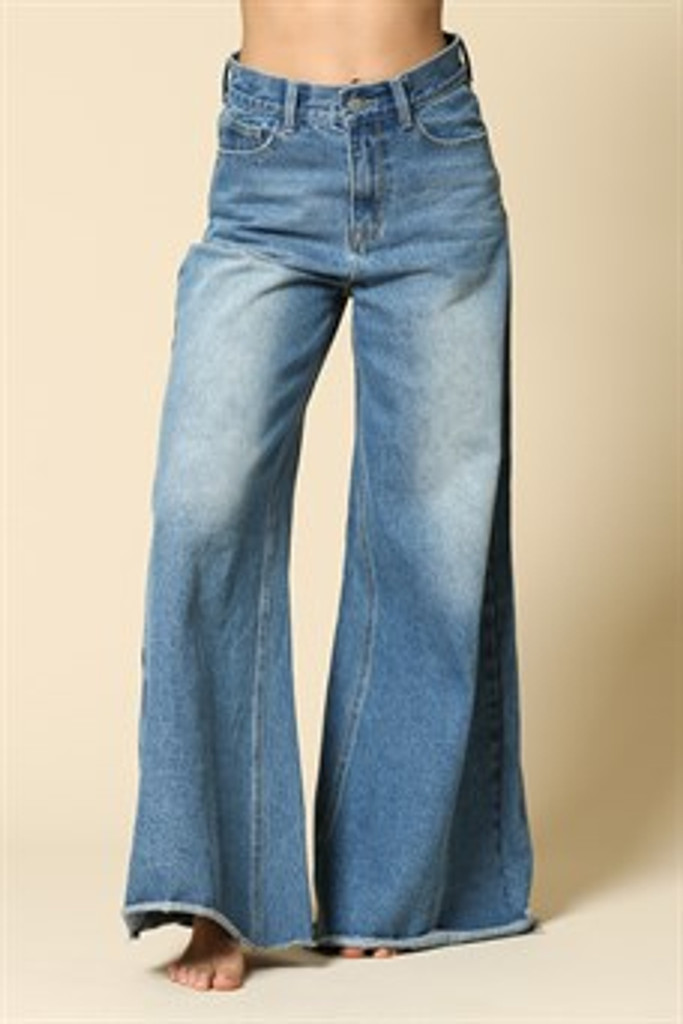 Women's By Together Jeans, High Waisted, Oversized Flare, Raw Edge