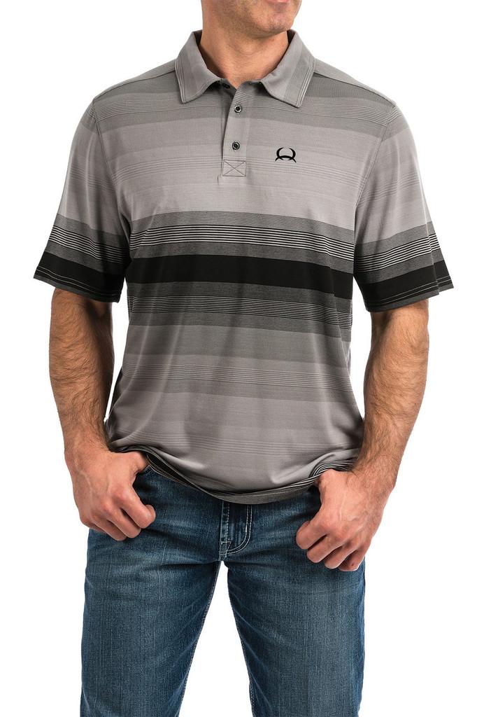 Men's Cinch S/S, Arena Flex, Black and Gray Stripes
