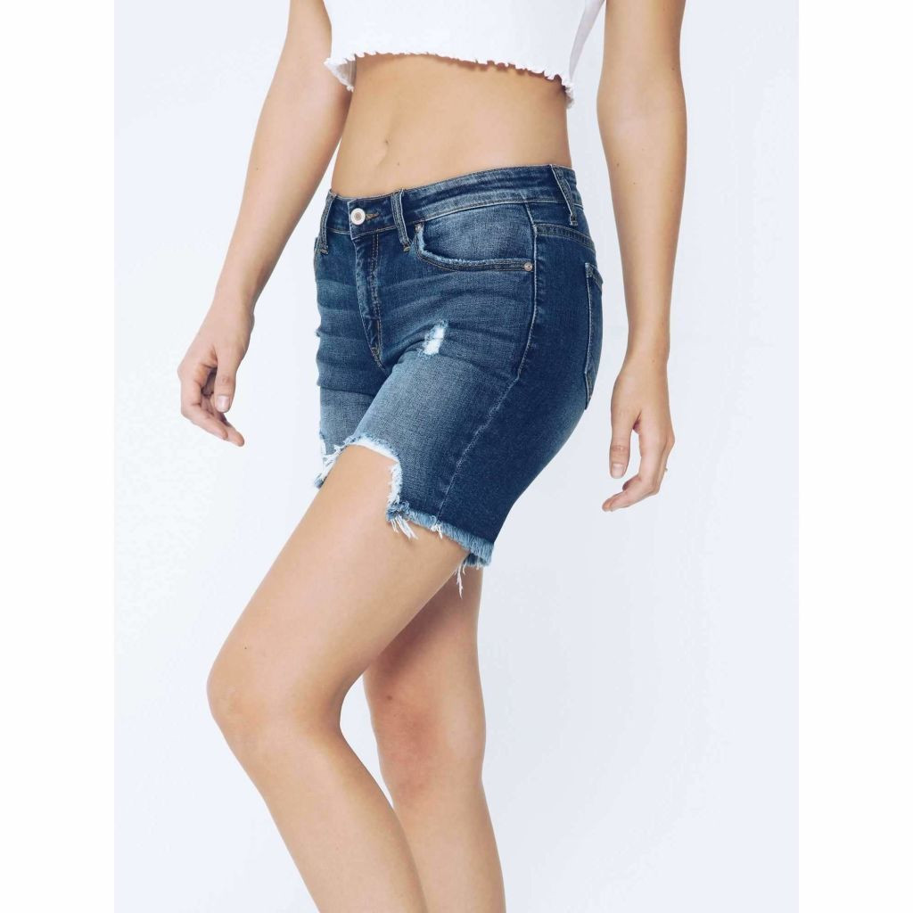 Women's KanCan Shorts, Crina Gia, Distressed Hemline