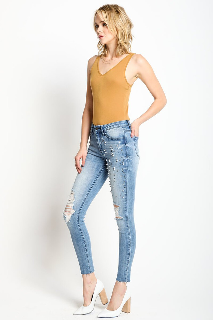 Women's KanCan Jeans, Addison Maggie, Skinny, Light Wash, Pearls
