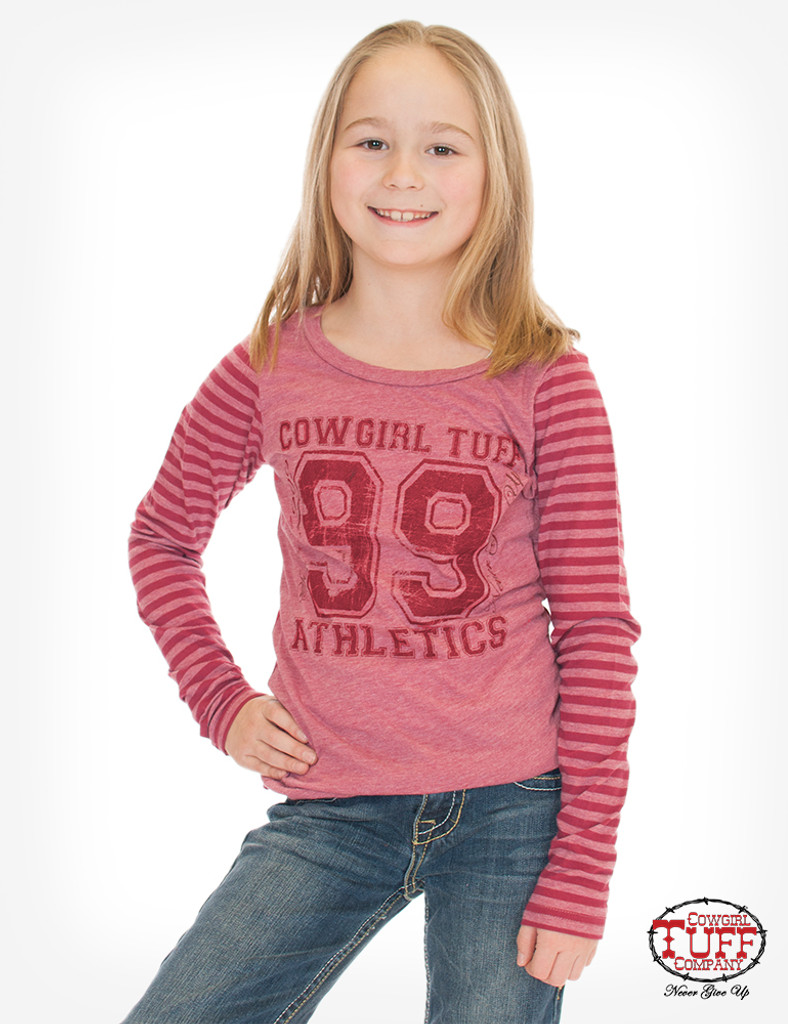 Girls Cowgirl Tuff L/S, Red Striped Sleeve, Athletic Print