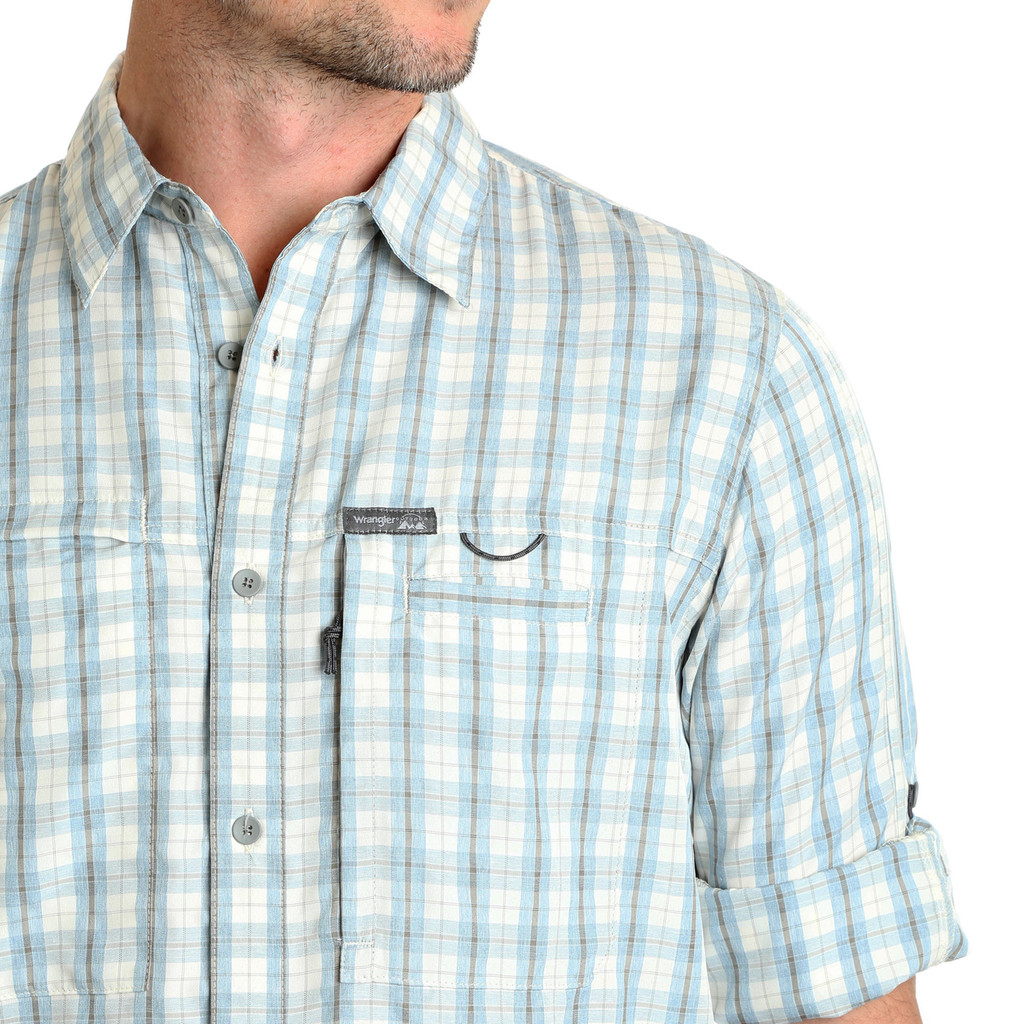 Men's Wrangler L/S, Light Blue and Brown Plaid