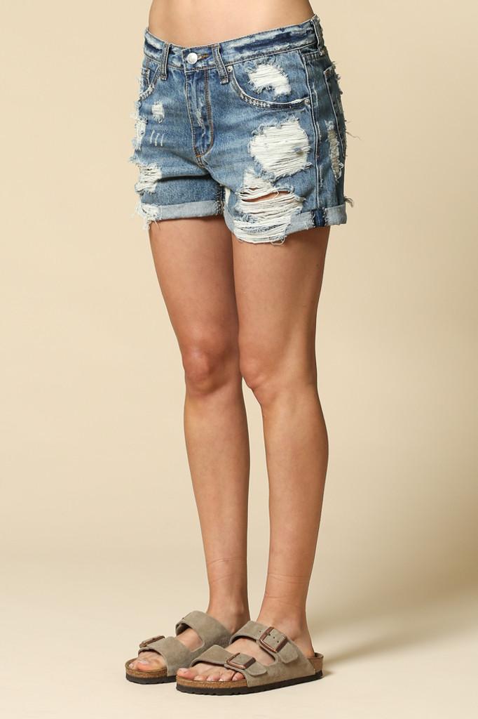 Women's By Together Shorts, Boyfriend Fit, Dark Denim, Distressed