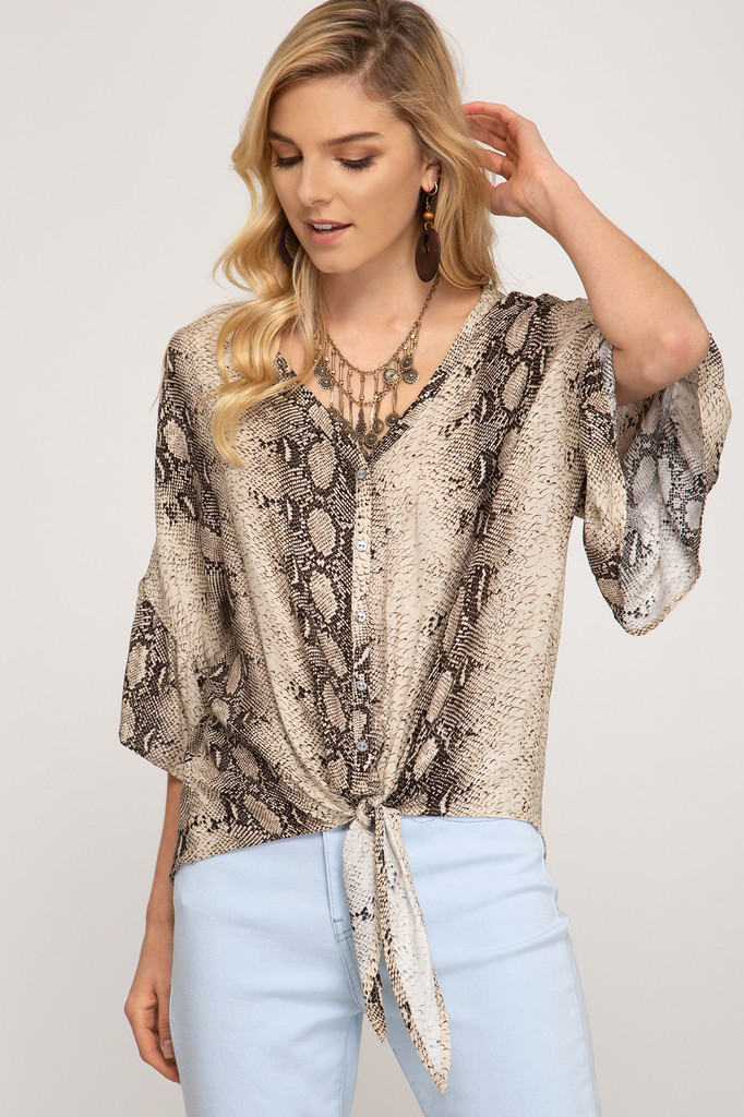Women's She+Sky Top, Snake Print, Front Tie