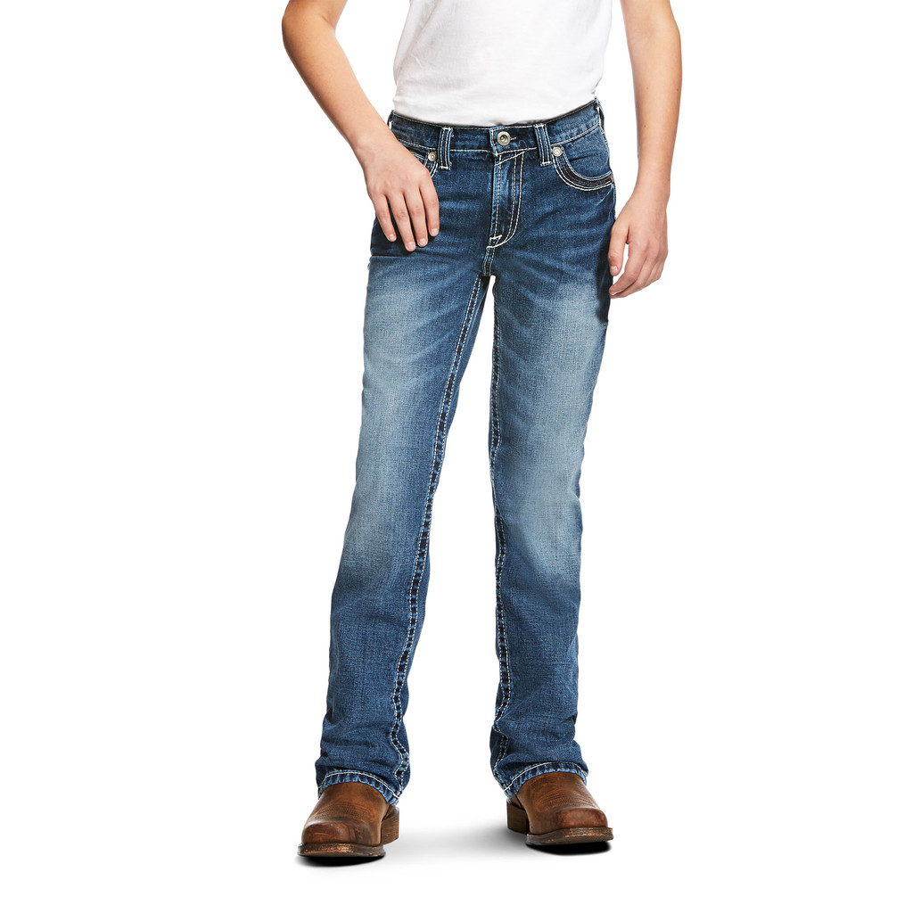 Boys Ariat Jeans, B4 Coltrane Durango, Medium Wash Bootcut