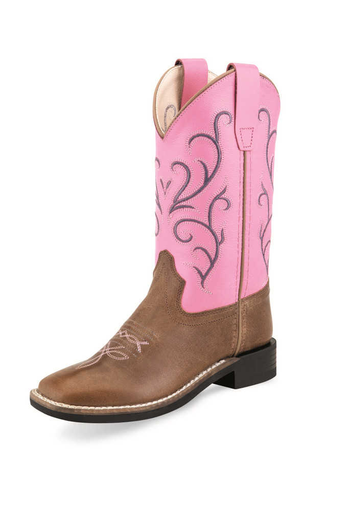 Kids Old West Boot, Pink Shaft with Brown Vamp