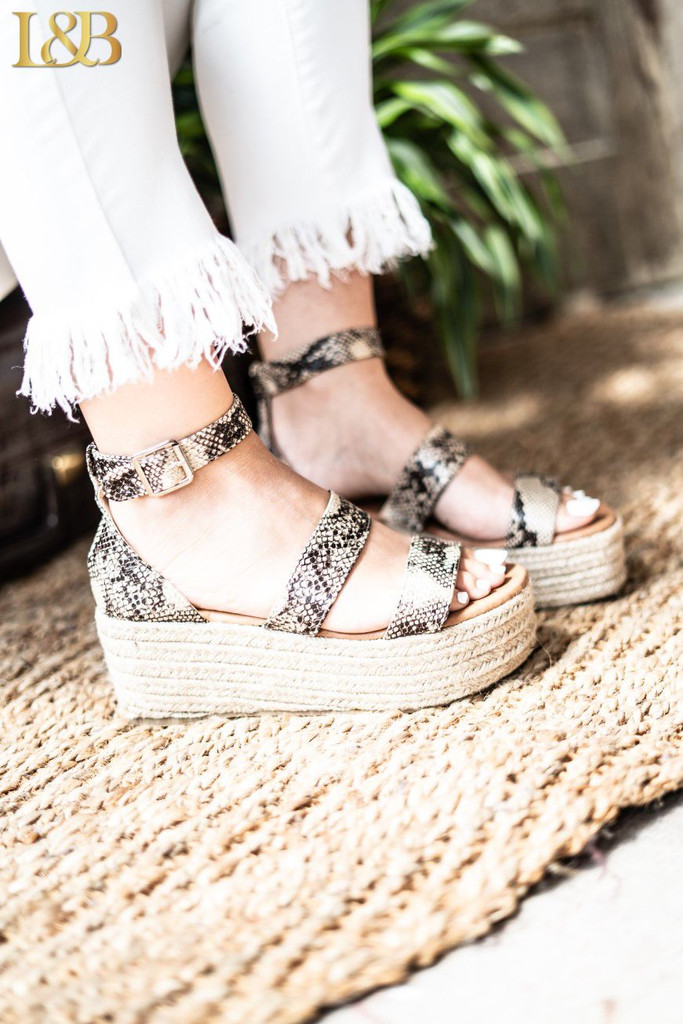 Women's L&B Shoe, Snake Print Wedge