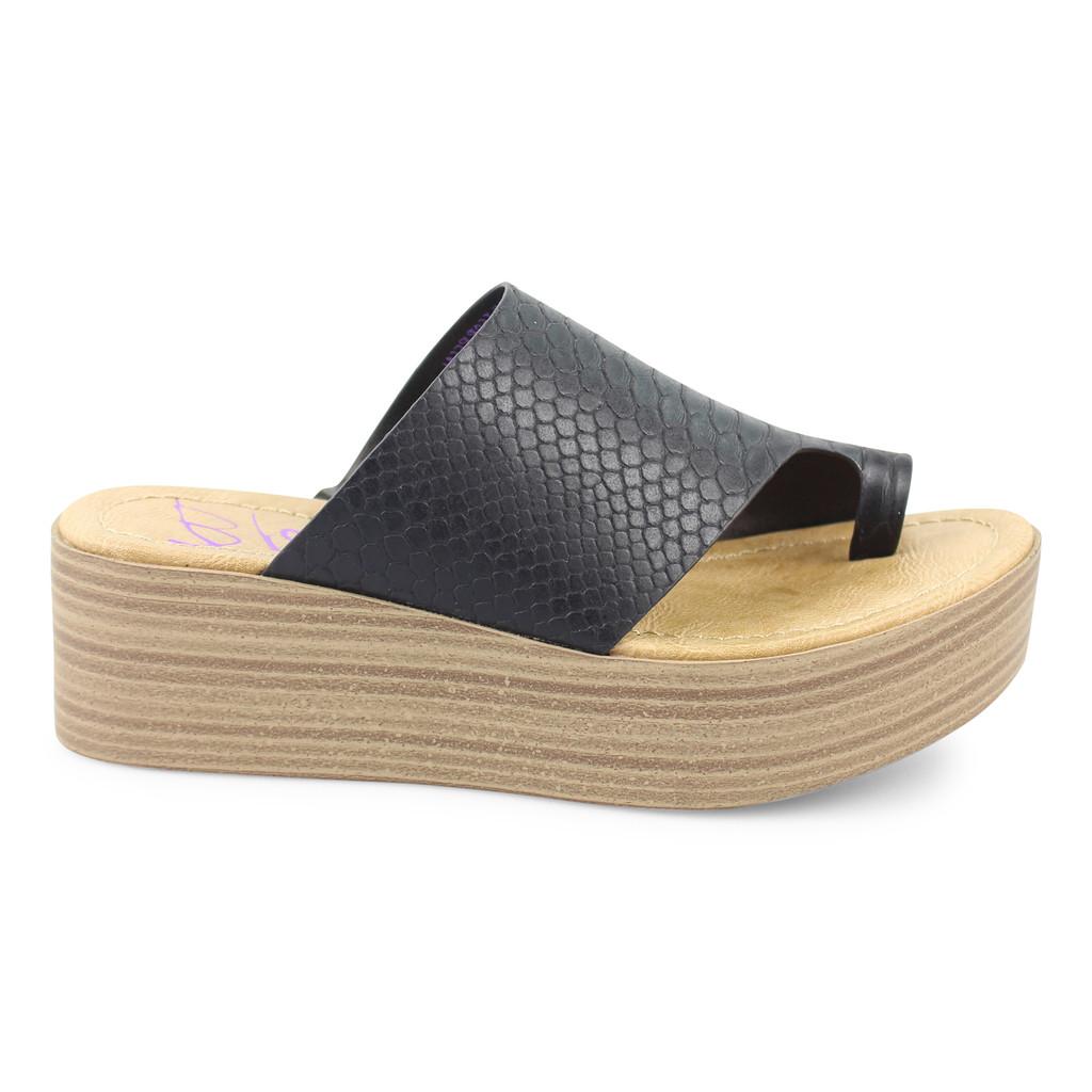 Women's Blowfish Shoe, Laslett, Black Snake Charmer, Platform Wedge