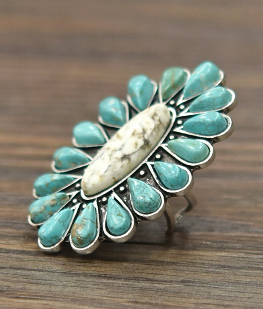 Isac Trading Ring, Turquoise Cluster, White Turquoise Center, Adjustable