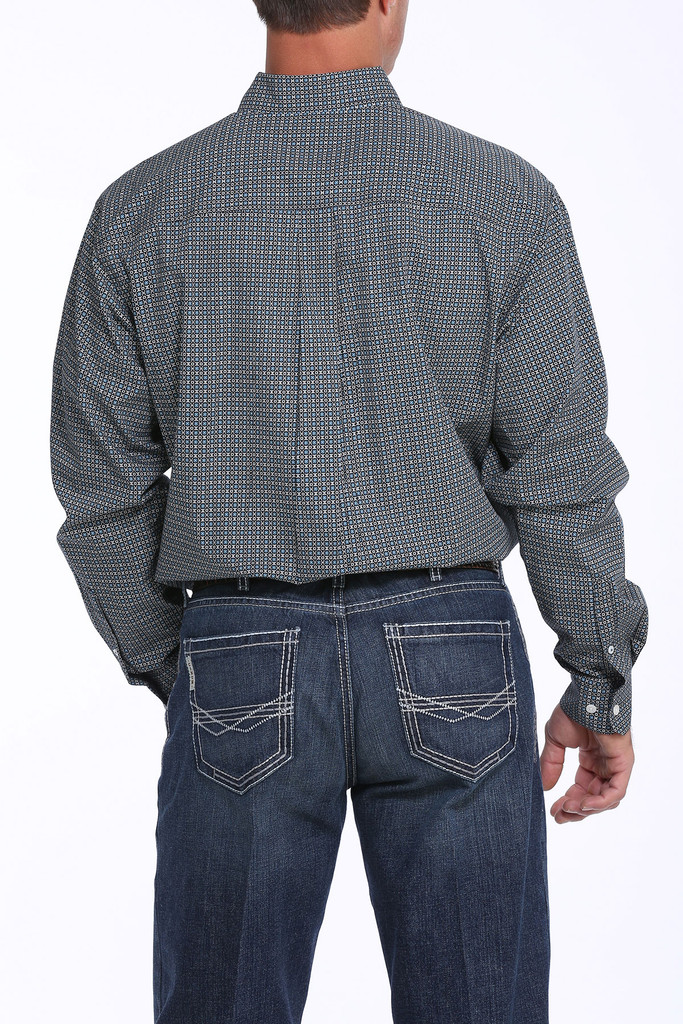 Men's Cinch L/S, Teal with Black and White Print
