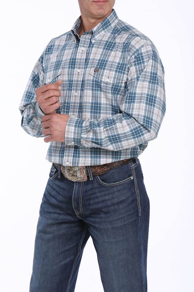 Men's Cinch L/S, Teal with White and Brown Plaid