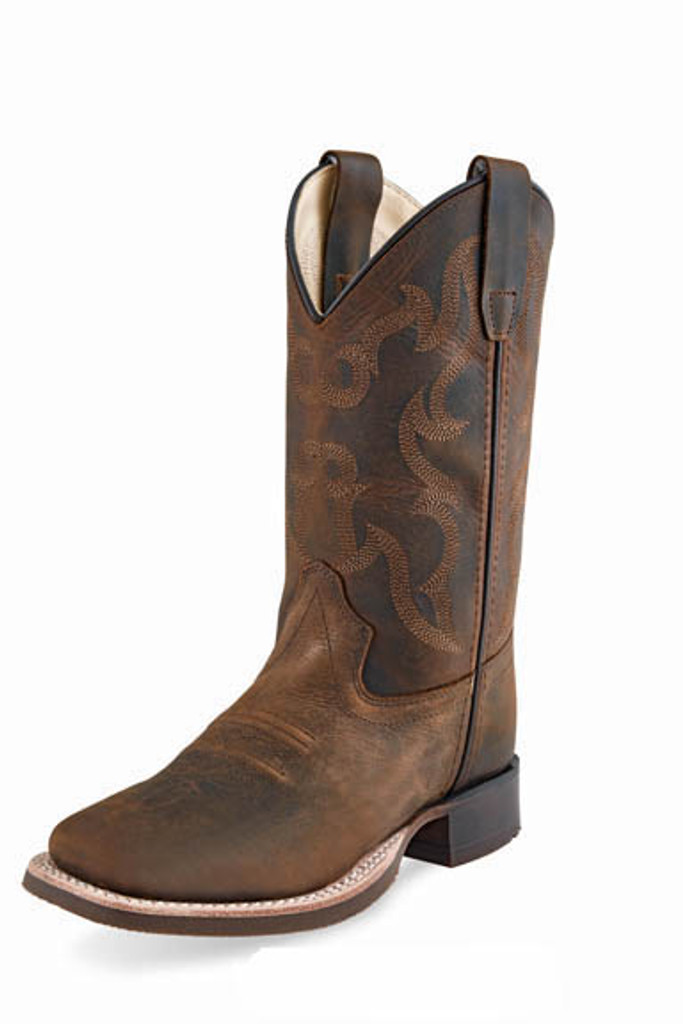 Kids Old West Boot, Brown Shaft with Brown Vamp