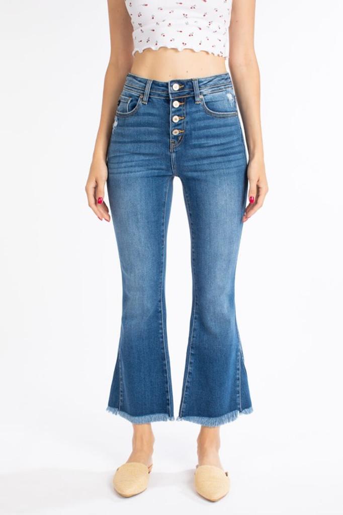 Women's KanCan Jeans, High Rise, Crop Flare, 4 Buttons, Raw Hem