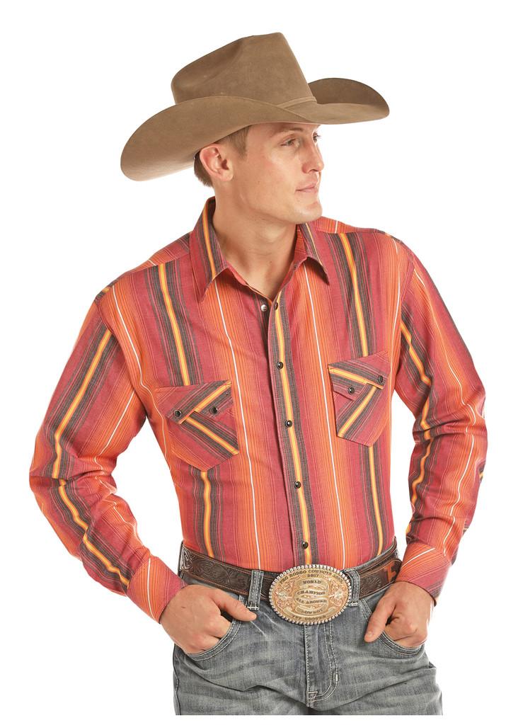 Men's Tuf Cooper L/S, Red and Orange Stripe, Snaps