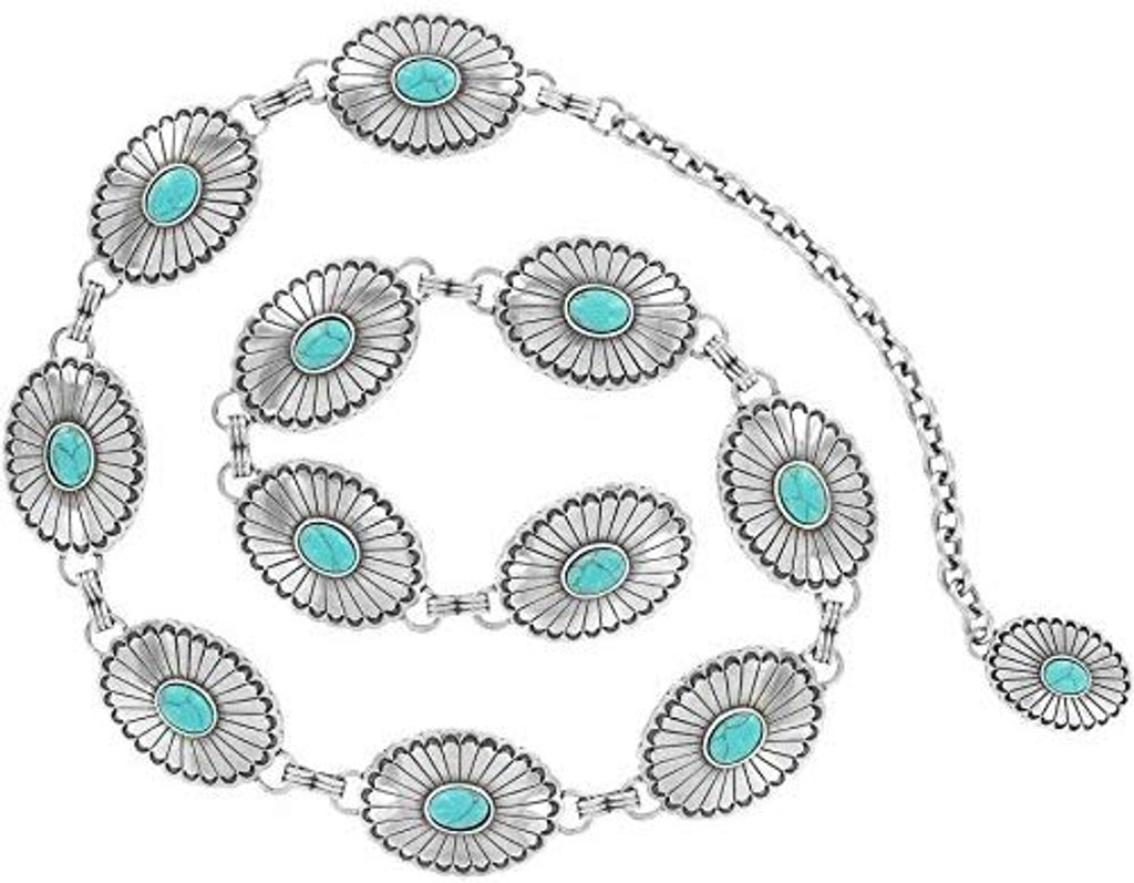 Women's Justin Belt, Silver and Turquoise Conchos