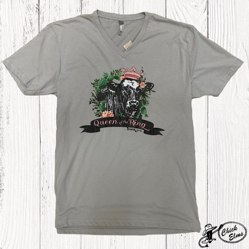 Women's Ranch Swag Tee, Queen of the Ring, Gray V-Neck