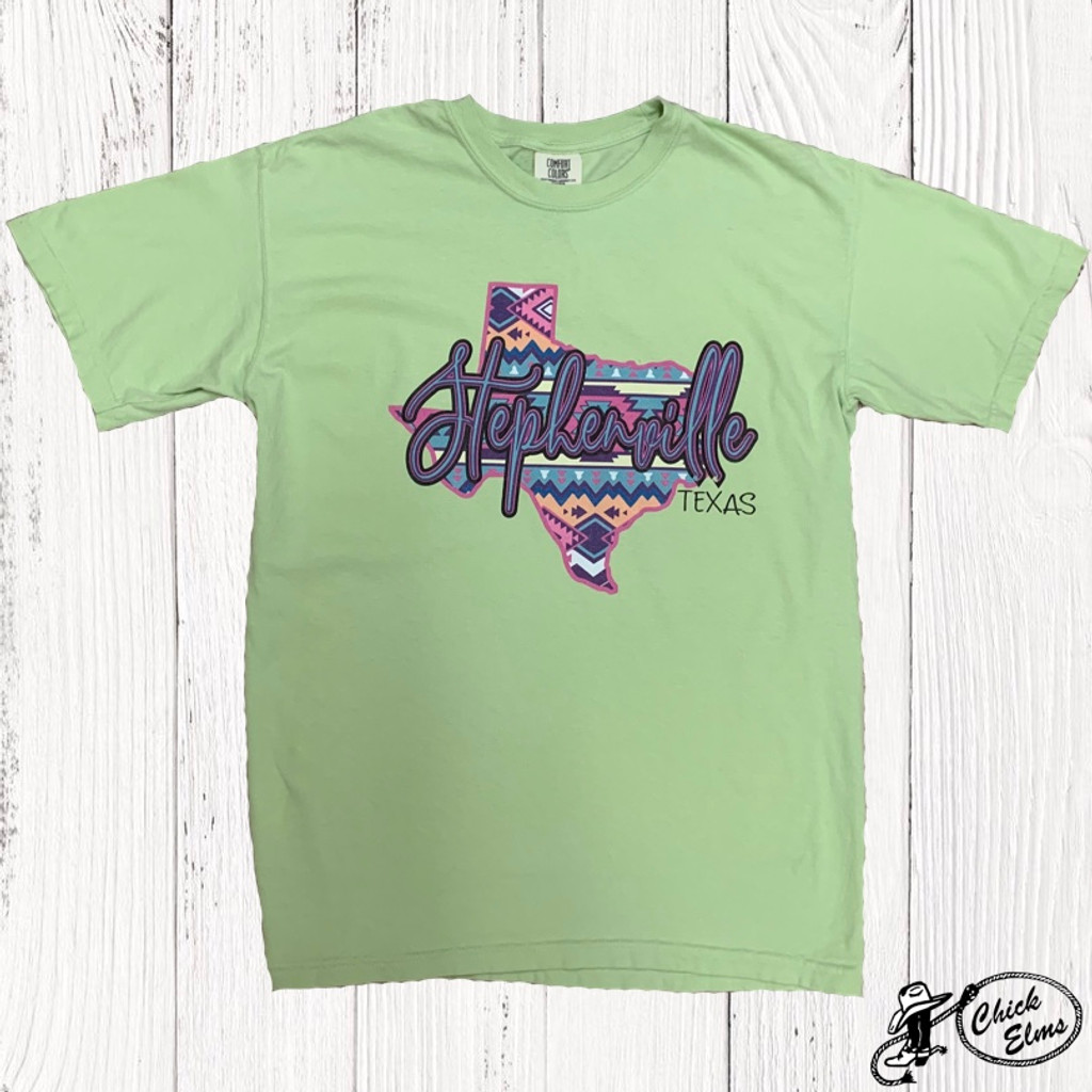Women's Ranch Swag Tee, Stephenville Funky Texas, Lime Green